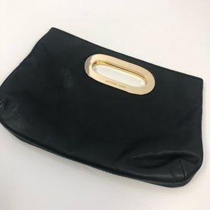 Michael Kors Black Leather Clutch Gold Handle